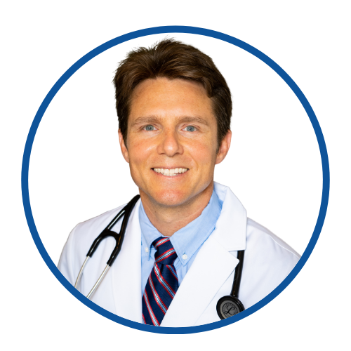 A round image of Dr. Scott Harrington, a vegan doctor, with a white background and blue frame