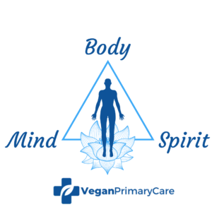 A depiction of holistic care featuring a human silhouette on a triangle with the words mind body and spirit at the points below is the logo for veganprimarycare.com