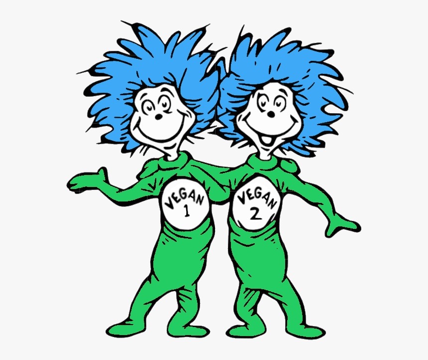 An image similar to the Dr. Seuss characters thing 1 and thing 2 which are made green. They are labeled vegan 1 and vegan 2, to indicate a vegan doctor is just like you