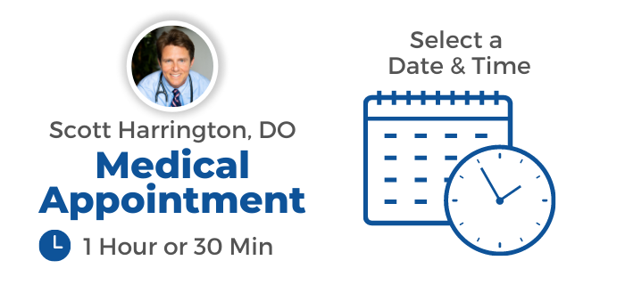 Image of Dr Scott Harrington telling you to book a medical appointment with the words select date and time
