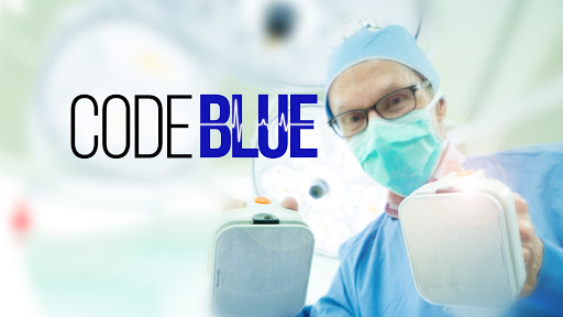 Movie poster for code blue a food documentary with a doctor holding resuscitation paddles to shock a patient