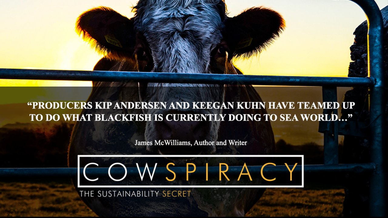 Vegan movie poster for cowspiracy the sustainability secret showing a cow in a feedlot
