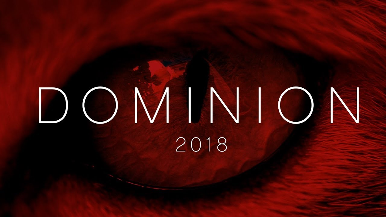 Vegan movie poster for dominion 2018 showing an animal eye with a red filter that is the color of blood