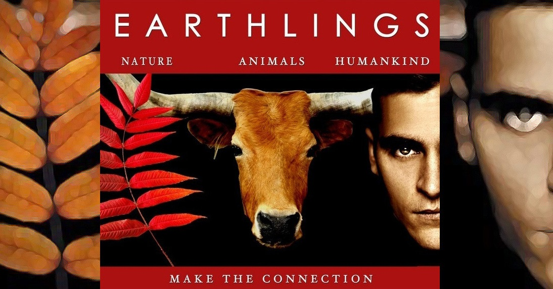 Movie poster for Earthlings showing a leaves, a cow and a human face in a lineup suggesting we are all life on earth, the face is of famous actor Joaquin Phoenix