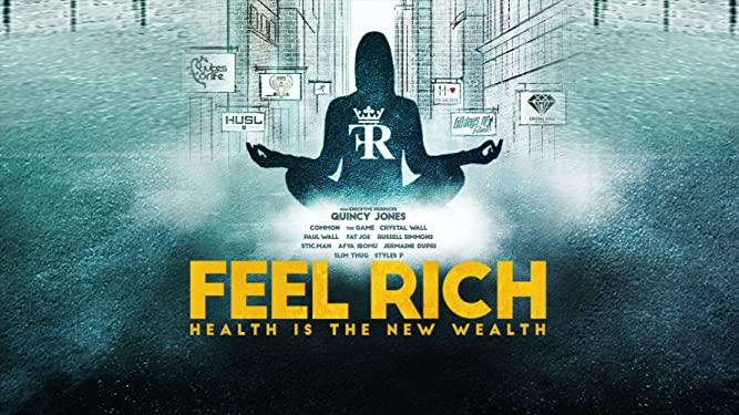 Movie Poster for Feel Rich showing dark figure in meditation pose