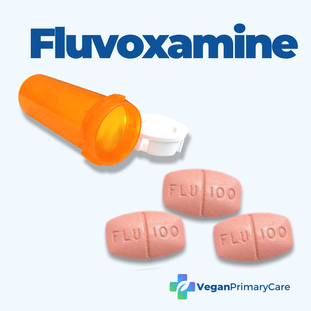 Fluvoxamine for COVID19 bottle with images of fluvoxamine pills and the vegan primary care logo