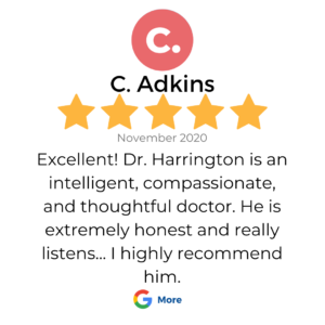"A 5 star google review review in a box that shows a patient review for services at VeganPrimaryCare.com with Dr Scott Harrington DO, it says ""Excellent! Dr. Harrington is an intelligent, compassionate, and thoughtful doctor. He is extremely honest and really listens... I highly recommend him."""