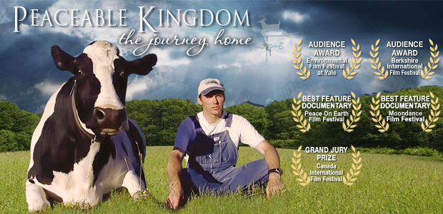 Vegan movie poster for for Peaceable Kingdom showing a cow sitting next to a farmer in a field