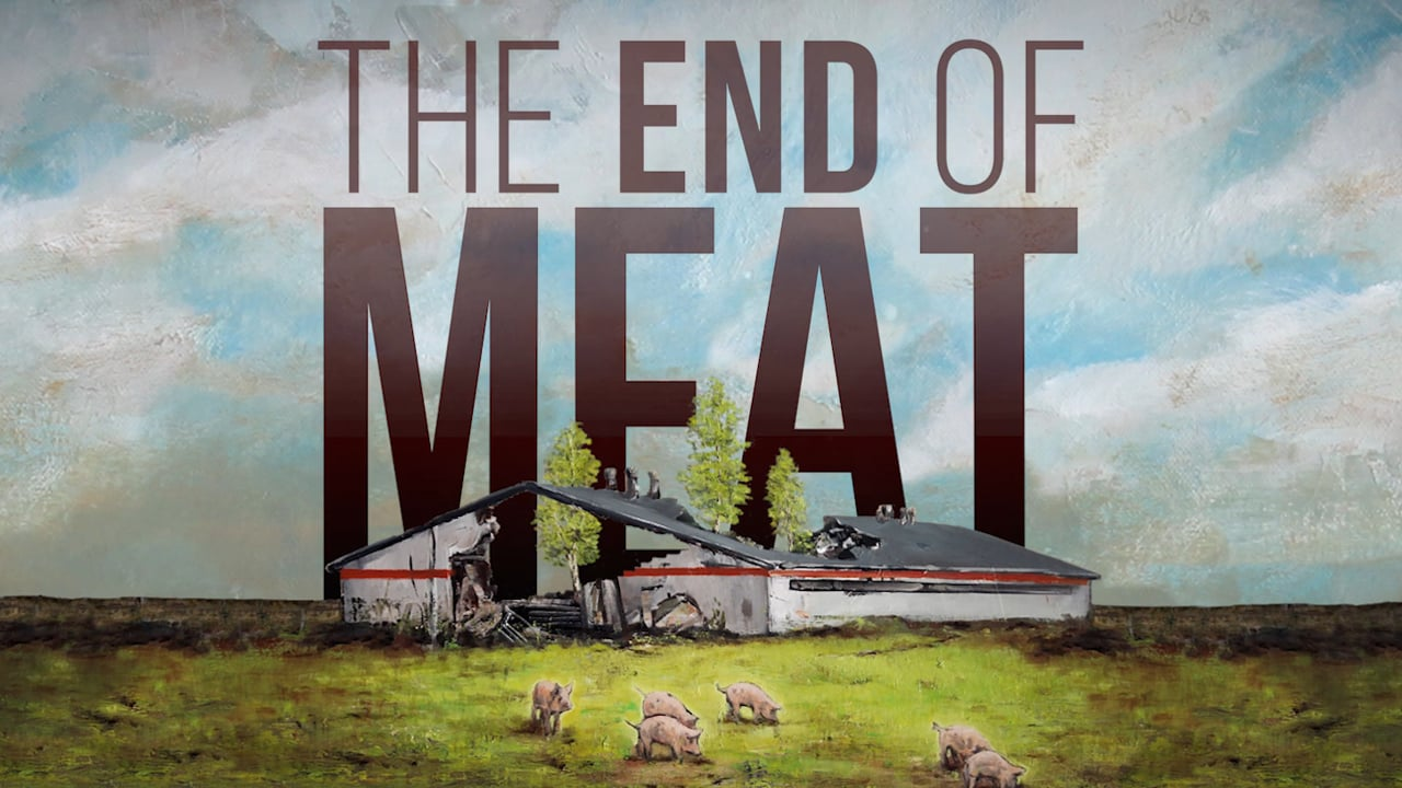 Vegan movie poster for the end of meat showing a broken down farmhouse