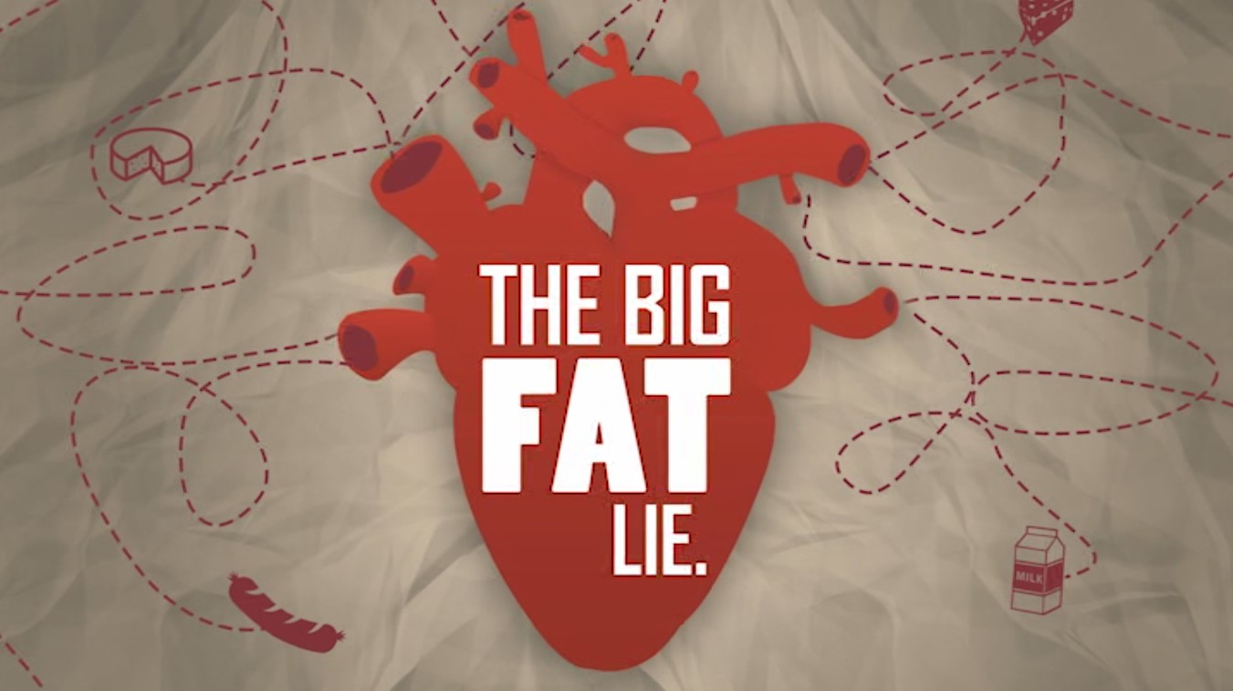 Movie poster for The Big Fat Lie a food documentary showing a heart shape with the movie title superimposed