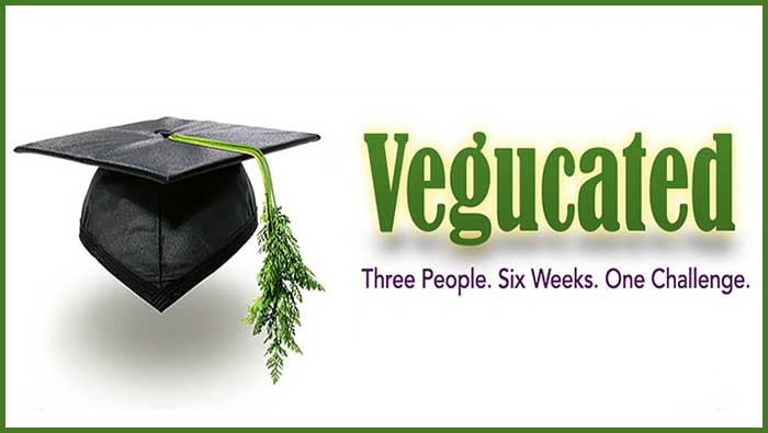 Vegan documentary poster for Vegucated showing a graduation cap with a leaf as a tassel with the tagline three people, six weeks, one challenge
