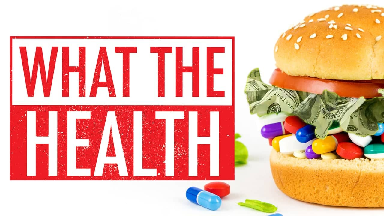 Movie poster for the vegan movie what the health showing a hamburger with money instead of lettuce and pills instead of a burger