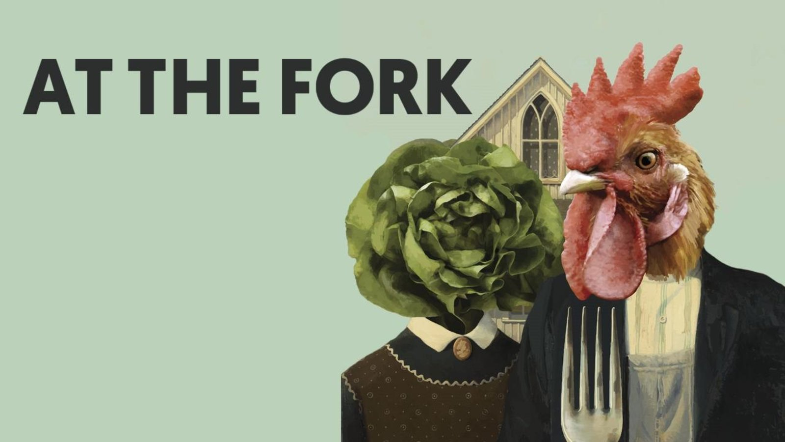 Vegan Movie poster for At The Fork a movie about animal husbandry showing a husband and wife with a lettuce head and a chicken head