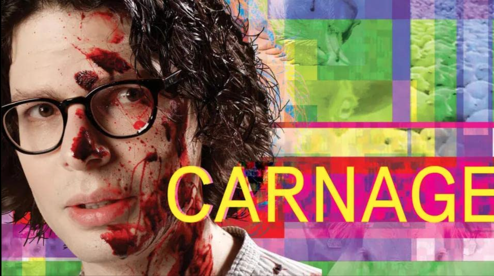 Vegan movie poster with a man with blood smeared on his face and the word Carnage