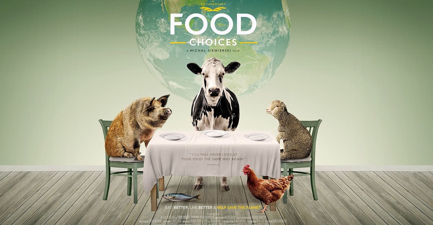 Vegan movie poster for Food Choices showing a animals at a diner table and the earth in the background