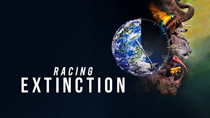 Racing Extinction movie poster showing a symbol of the earth superimposed on a clock face with the shaded side showing extinct animals suggesting they will all be gone soon