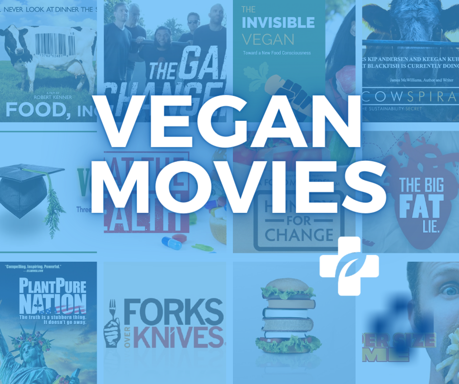 Collage of vegan movie and vegan documentary posters with the vegan primary care logo over a blue transparent background
