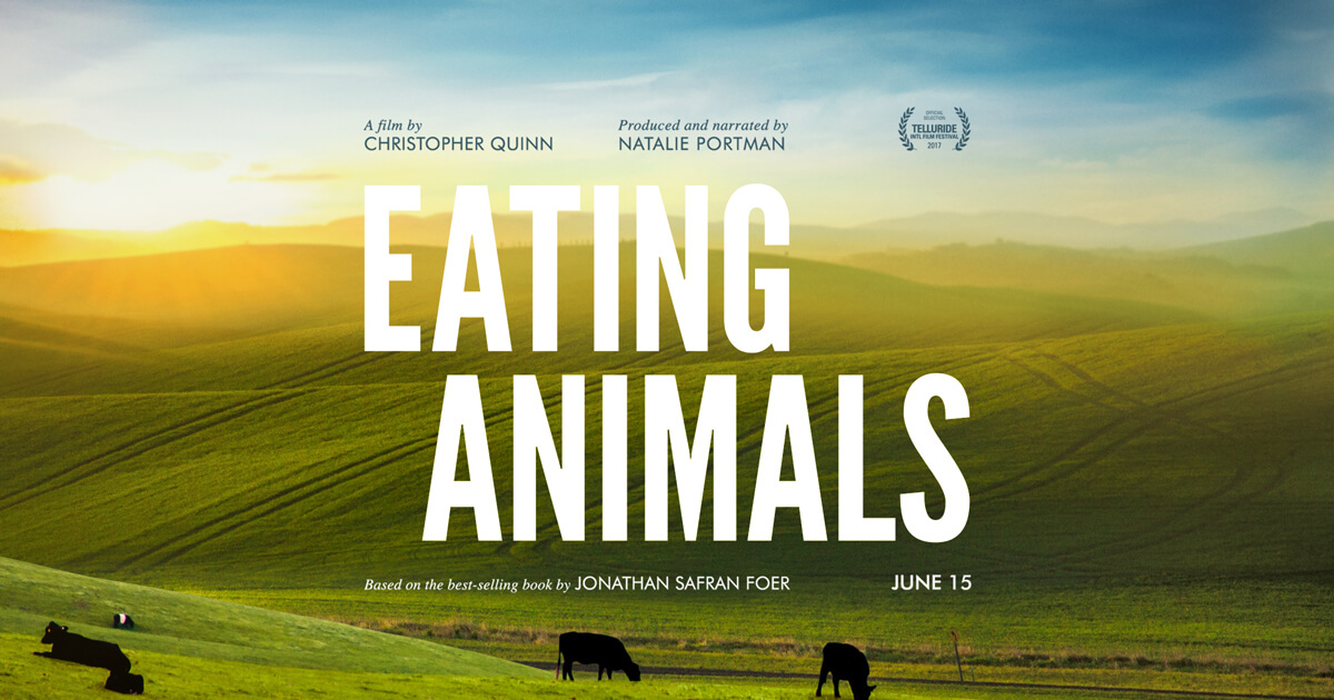 vegan movie poster for the vegan documentary eating animals showing a field of cows