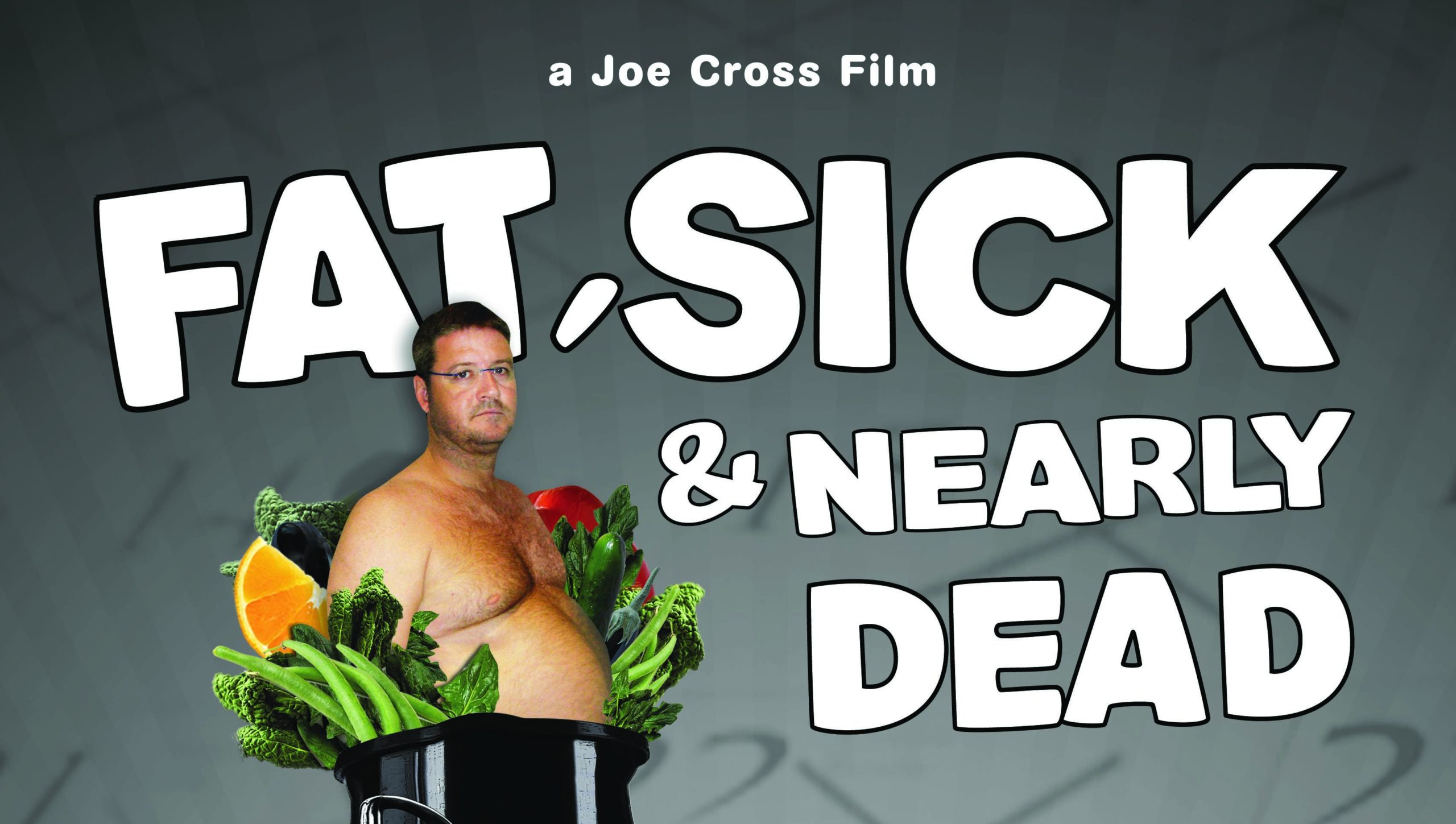 The movie poster for the vegan documentary fat sick and nearly dead showing a fat man inside a vegetable juicer