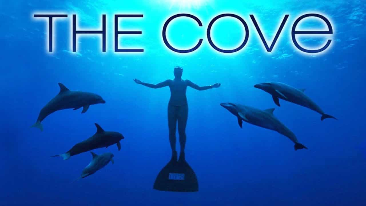 Movie poster for the cove showing a diver in cross pose with a dolphin style flipper and 5 dolphins surrounding the figure