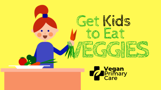 Illustration of how to get kids to eat vegetables by vegan primary care and Dr. Scott Harrington Showing a female child holding up carrots and smiling