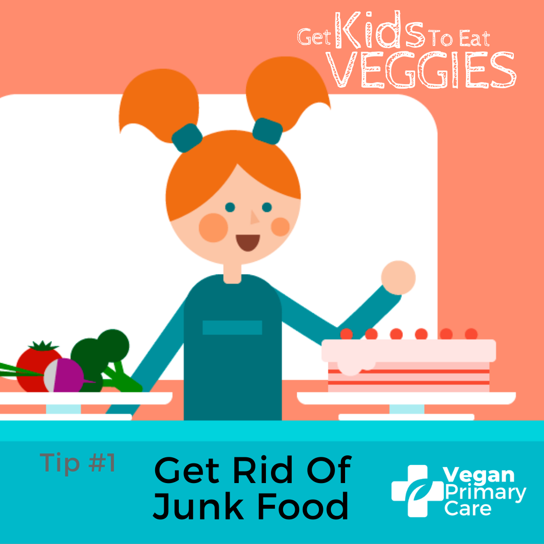 illustration of how to get kids to eat vegetables by vegan primary care tip 1 get rid of nearby junk food Showing a female child refusing vegetables because she sees a cake on the table