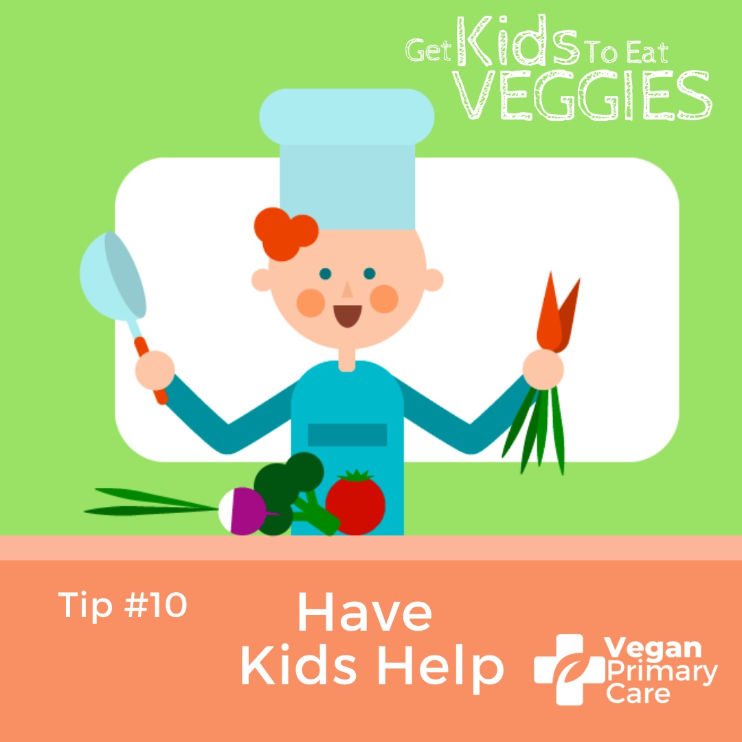 illustration of how to get kids to eat vegetables by vegan primary care tip 10 have kids help scene showing a child with a chef's hat and a cooking pan in his hand helping to cook vegetables