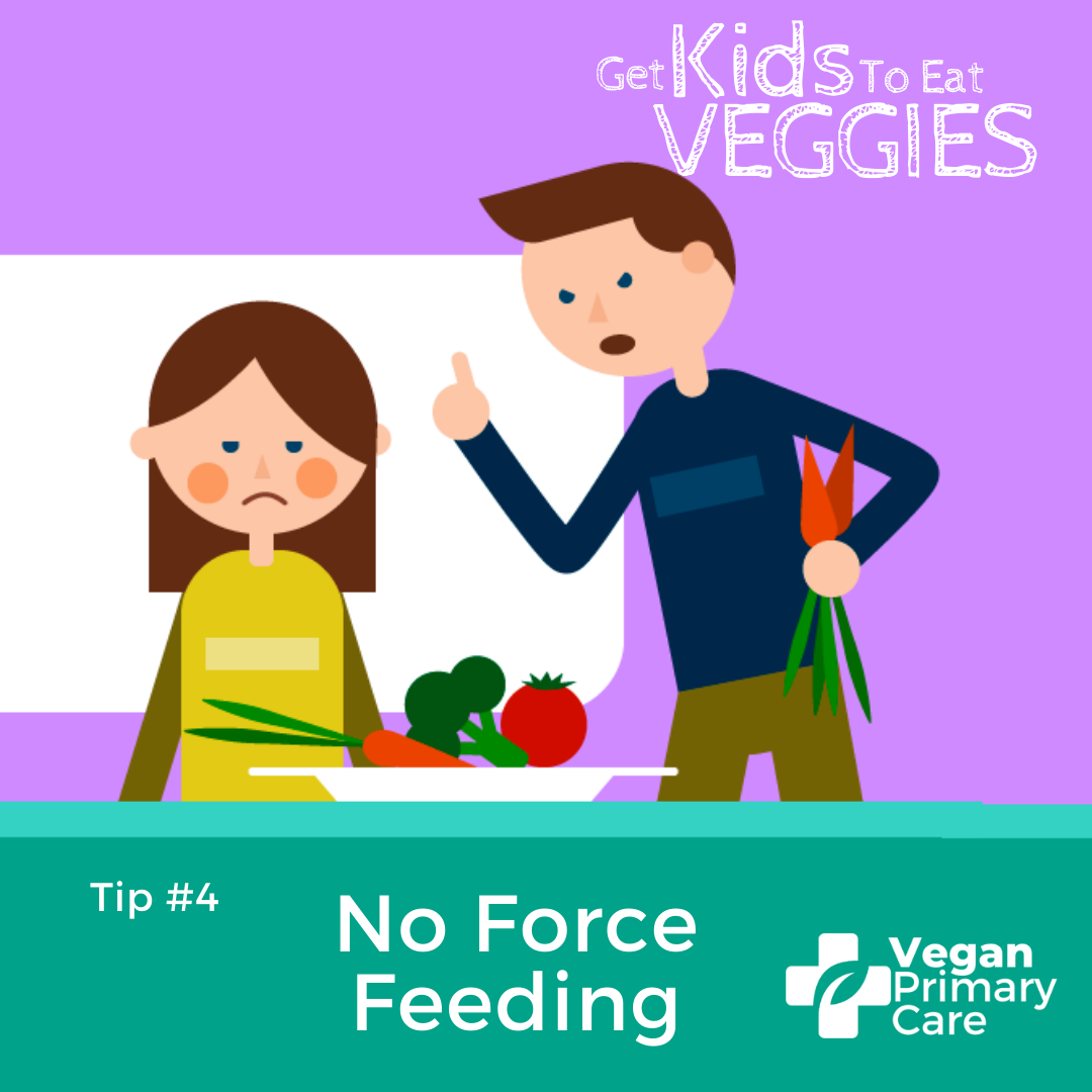 illustration of how to get kids to eat vegetables by vegan primary care tip 4 no force-feeding a scene where it shows a child being pressured to eat vegetables by an angry parent
