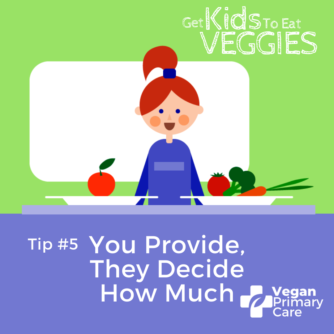 illustration of how to get kids to eat vegetables by vegan primary care tip 5 you provide they decide a scene showing a female child at a table deciding between a small portion and a big portion of vegetables