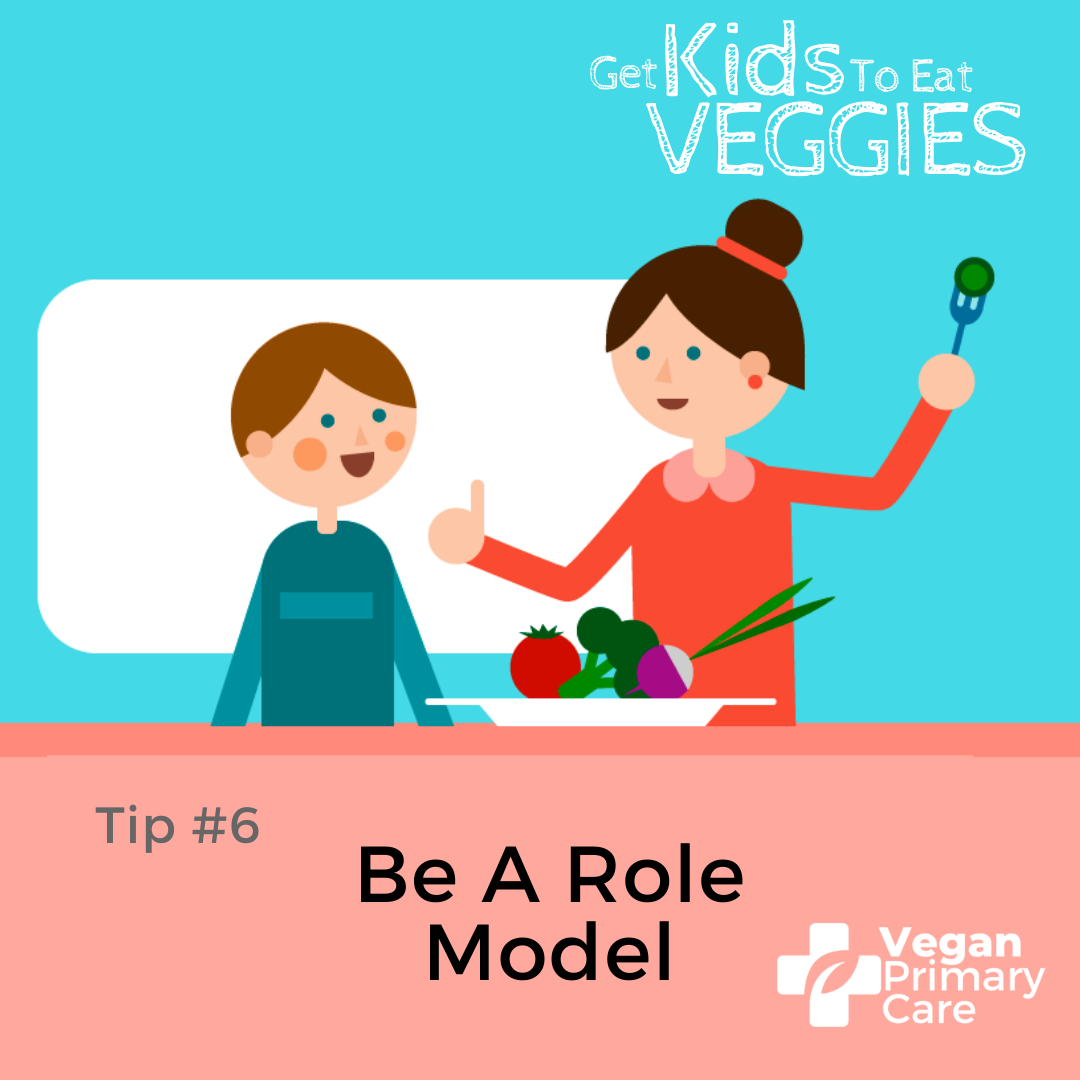 illustration of how to get kids to eat vegetables by vegan primary care tip 6 be a role model a scene where an adult female role model parent figure is demonstrating how to eat vegetables to a child