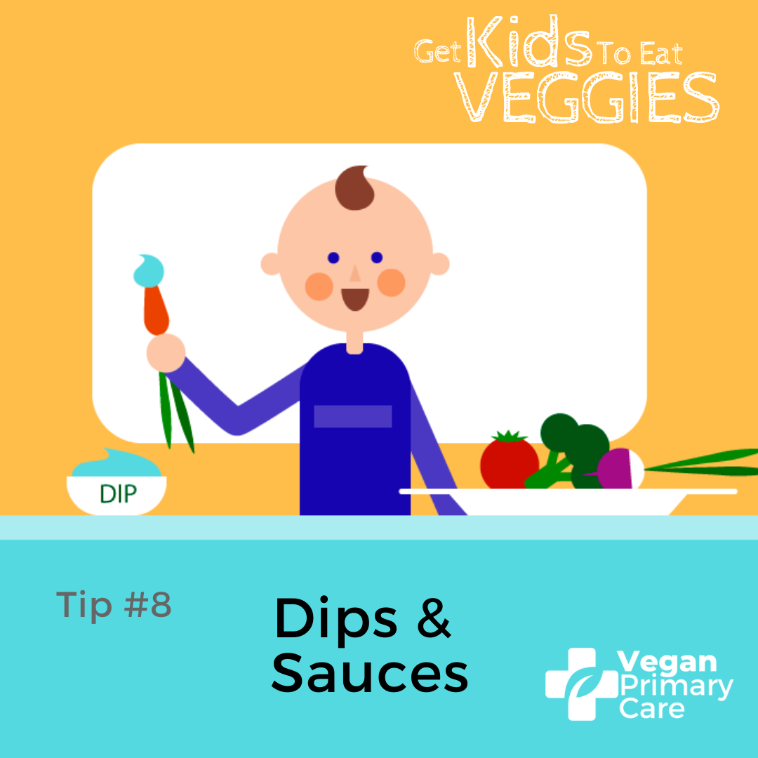 illustration of how to get kids to eat vegetables by vegan primary care tip 8 dips and sauces a scene where a child is shown dipping a carrot into a sauce before eating