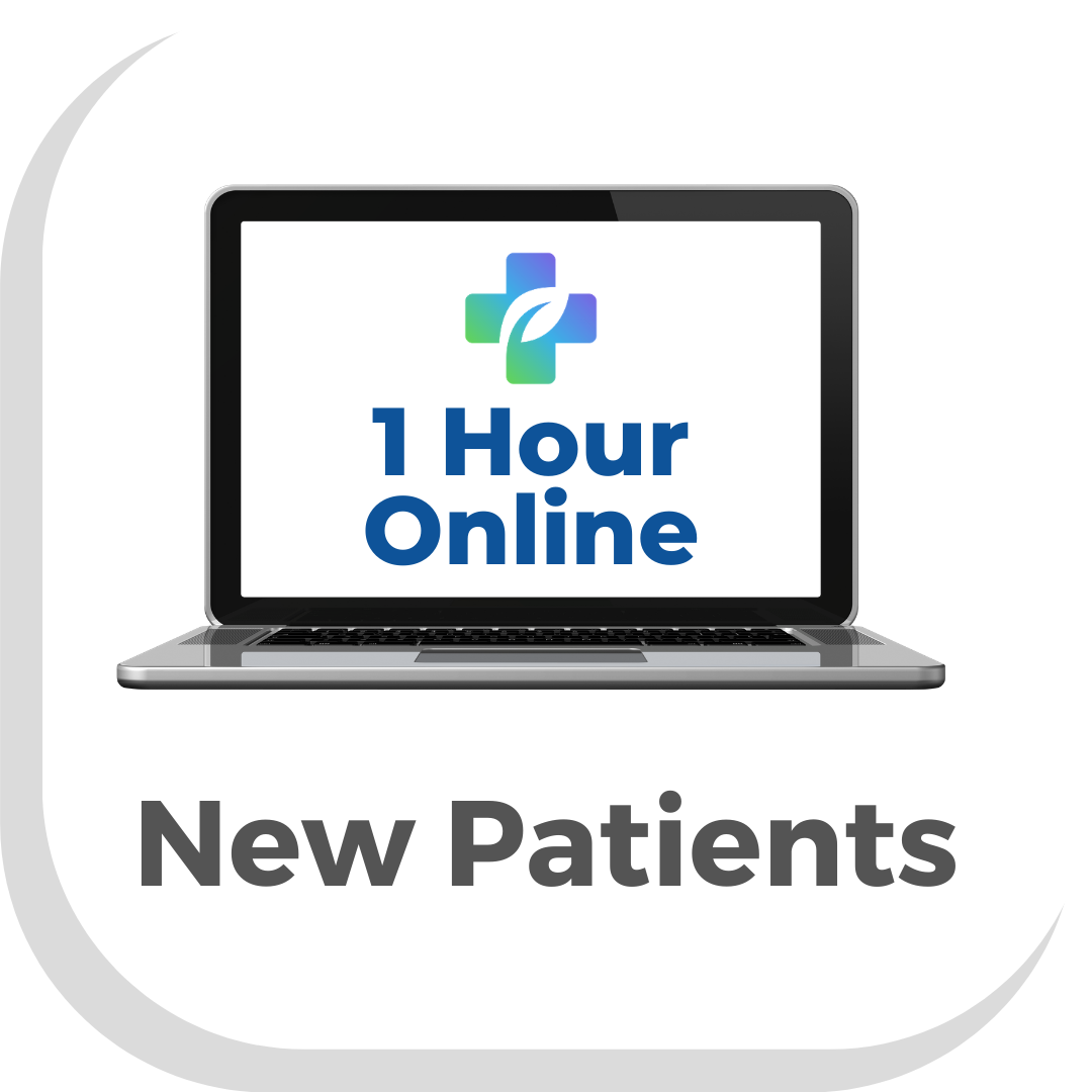 Picture of a button with a computer and the words 1 hour online with writing saying new patients press to make a 1 hour online appointment with a Vegan Doctor Dr Scott Harrington at Vegan Primary Care