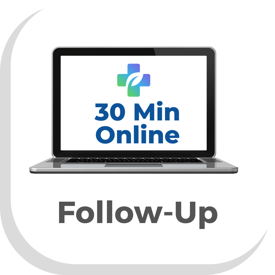 Picture of a button with a computer and the words 30 Min online with writing saying follow up press to make a 30 minute online appointment with a Vegan Doctor Dr Scott Harrington at Vegan Primary Care