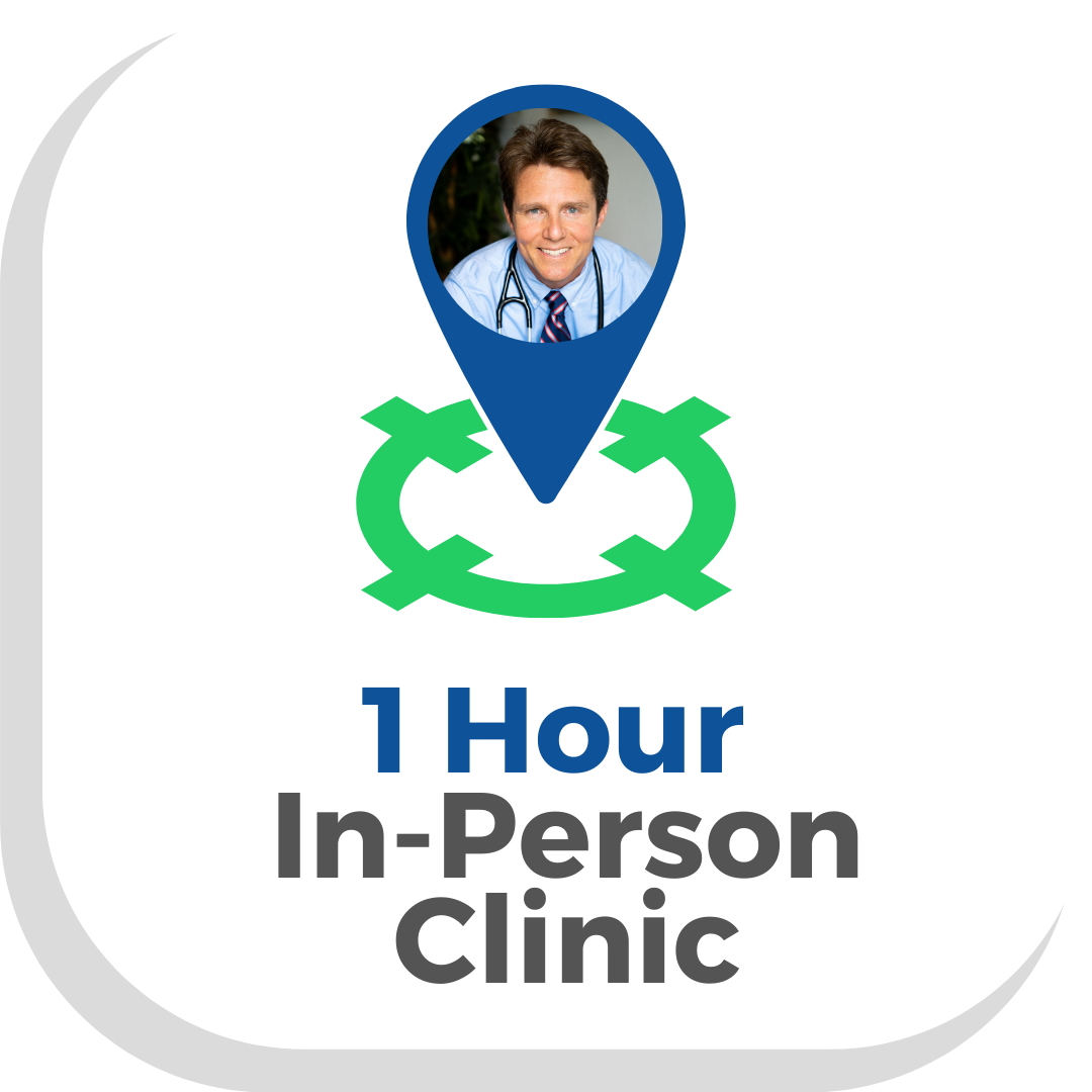 Button with a map pointer with Dr Scott Harringtons face saying 1 hour in person clinic press to make an in Person Appointment with a Vegan Doctor at Vegan Primary Care