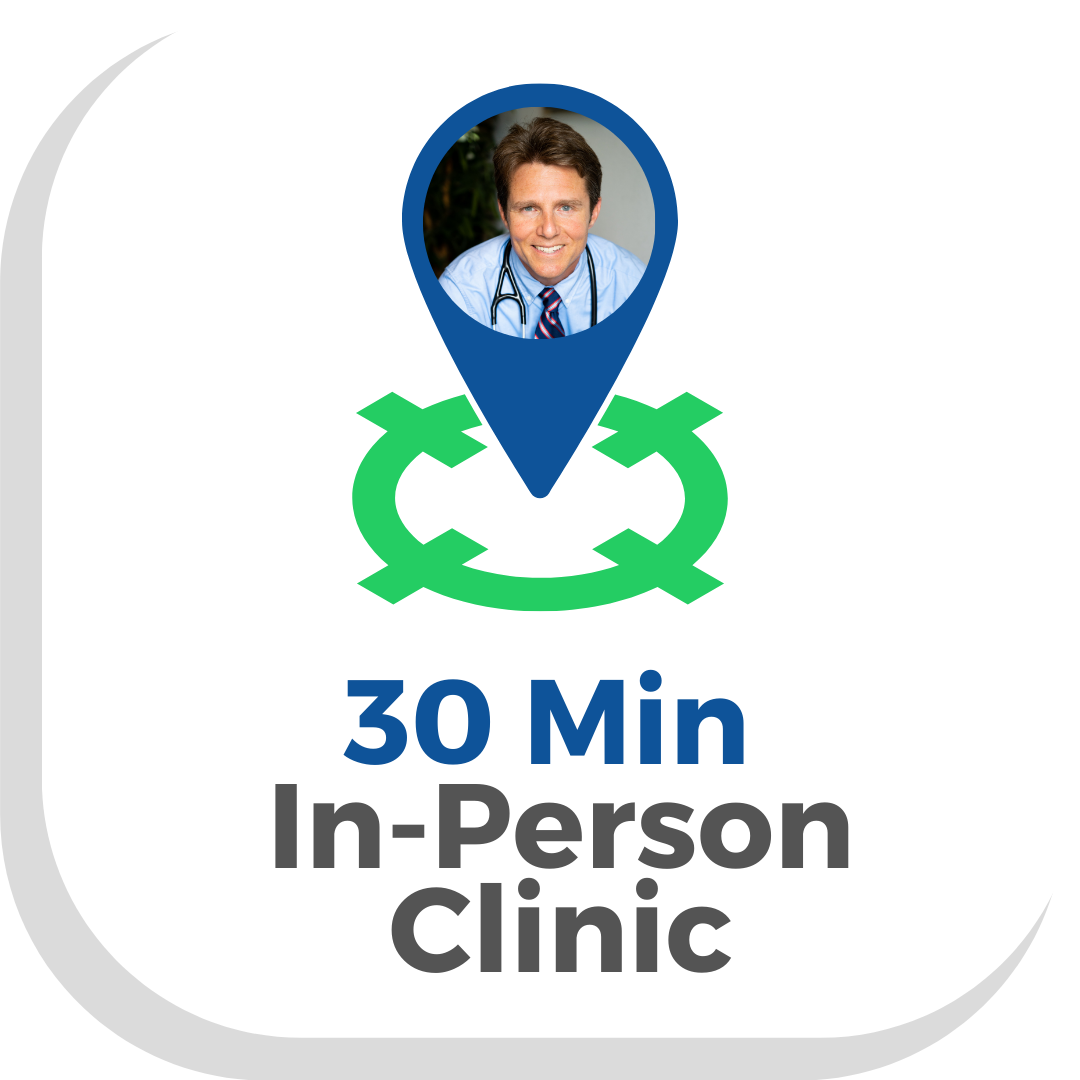 Button with a map pointer with Dr Scott Harringtons face saying 30 Min in person clinic press to make an in Person Appointment with a Vegan Doctor at Vegan Primary Care