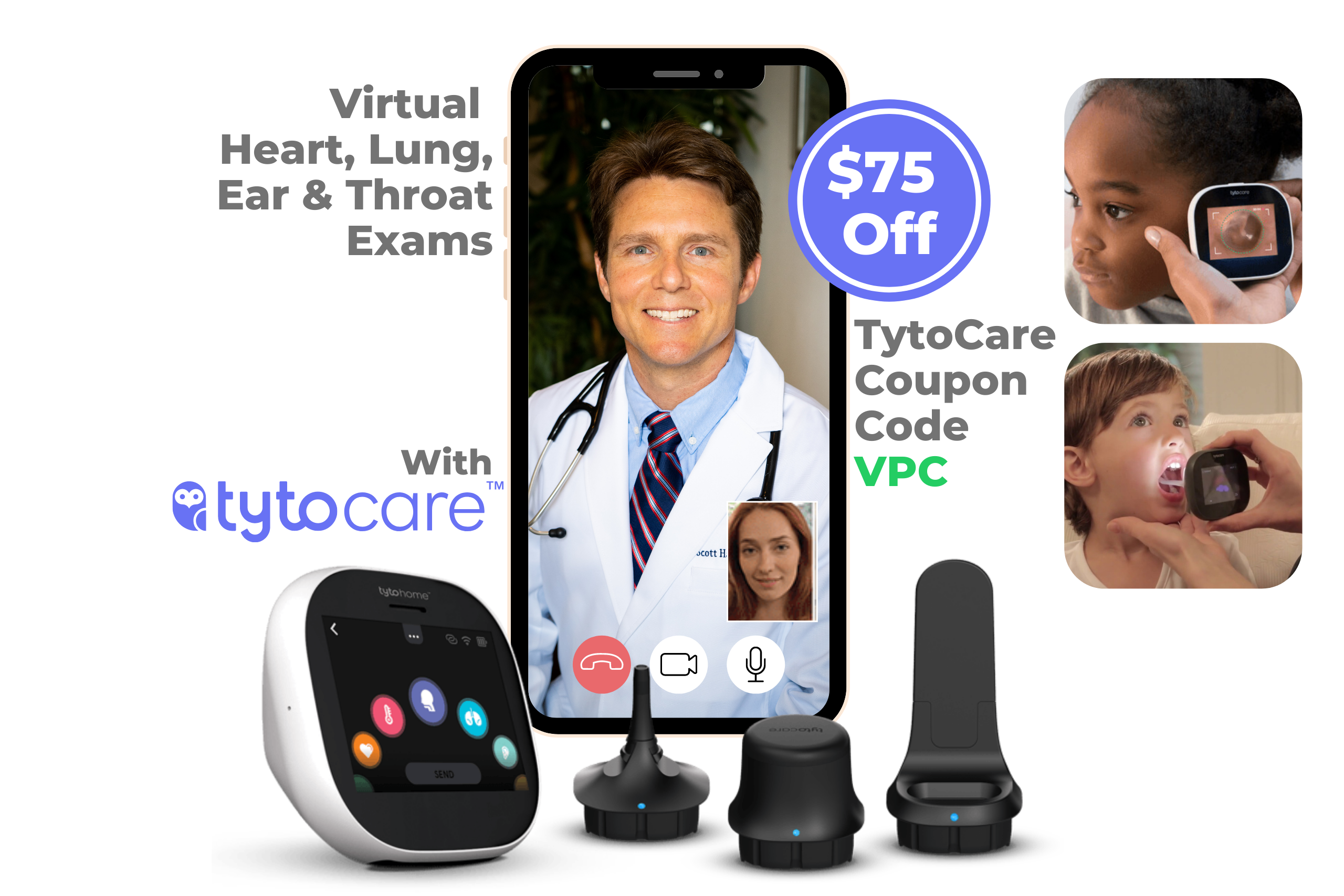 Tytocare device for telemedicine exam shown next to a mobile phone with Dr Scott Harrington a vegan doctor from vegan primary care showing a telemedicine visit with heart, lung, ear and throat exams performed at home and a coupon code for a discount on Tytocare